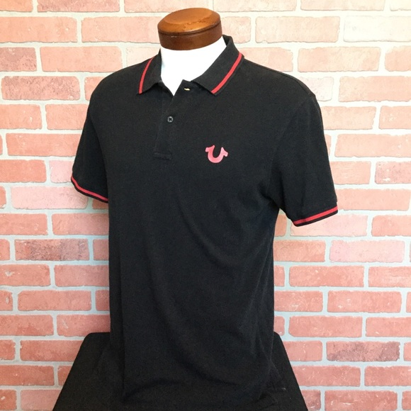 833b14cc9 True Religion Shirts | Mens Polo Shirt Black Red M Rr38 | Poshmark